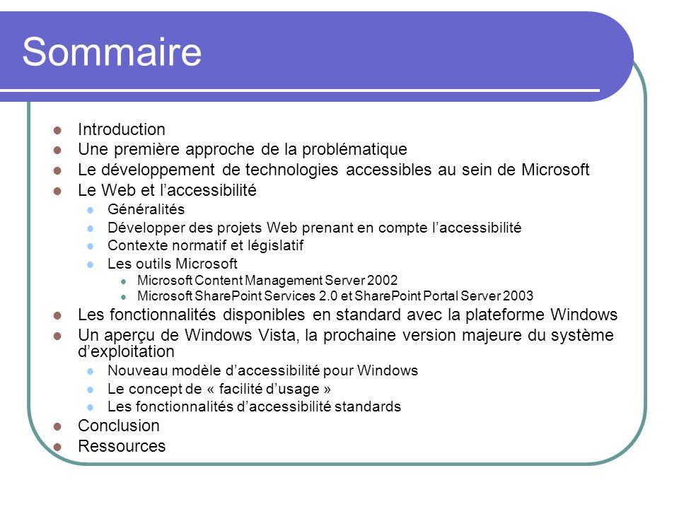 Sommaire Introduction Une première approche de la problématique Le développement de technologies accessibles au sein de Microsoft Le Web et laccessibi