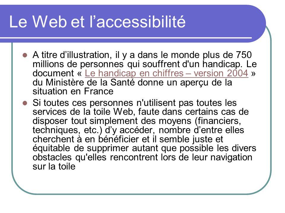 Le Web et laccessibilité A titre dillustration, il y a dans le monde plus de 750 millions de personnes qui souffrent d'un handicap. Le document « Le h