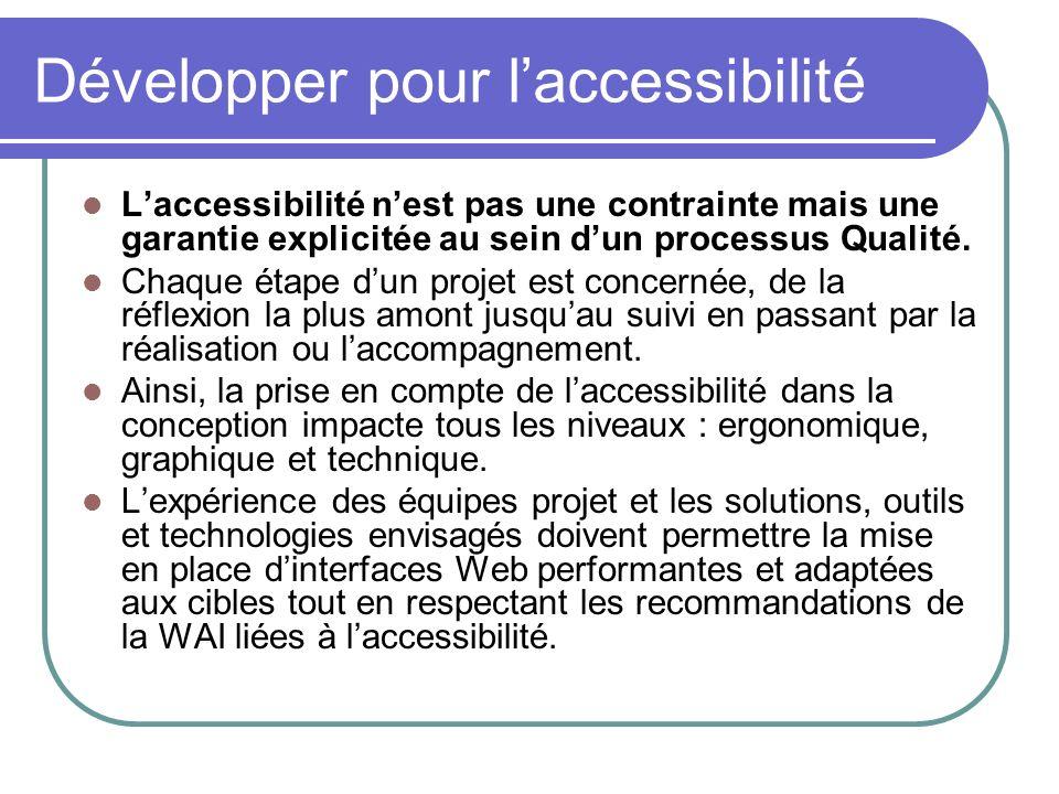 Développer pour laccessibilité Laccessibilité nest pas une contrainte mais une garantie explicitée au sein dun processus Qualité. Chaque étape dun pro