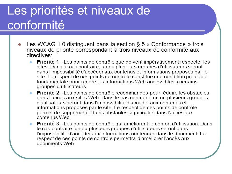 Les priorités et niveaux de conformité Les WCAG 1.0 distinguent dans la section § 5 « Conformance » trois niveaux de priorité correspondant à trois ni