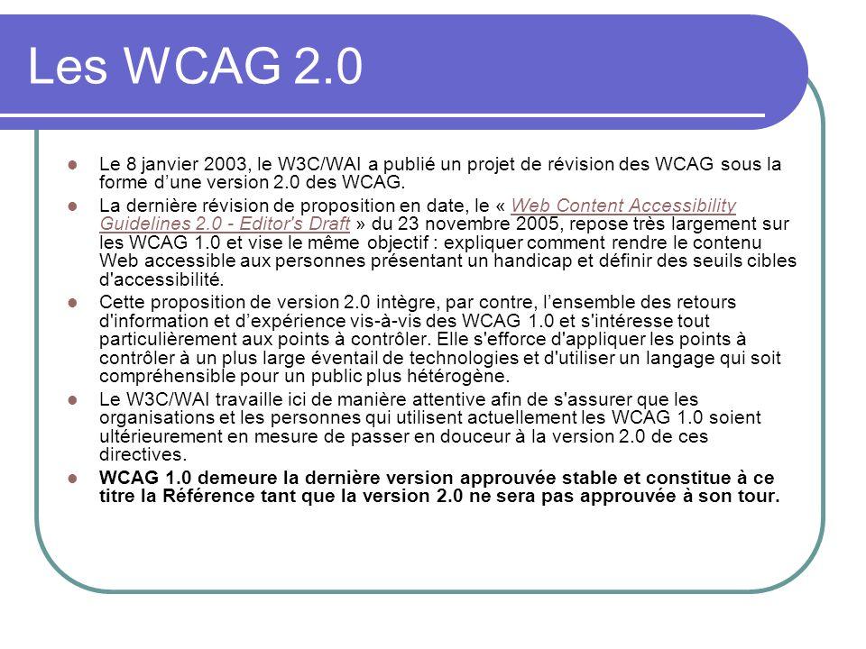 Les WCAG 2.0 Le 8 janvier 2003, le W3C/WAI a publié un projet de révision des WCAG sous la forme dune version 2.0 des WCAG. La dernière révision de pr