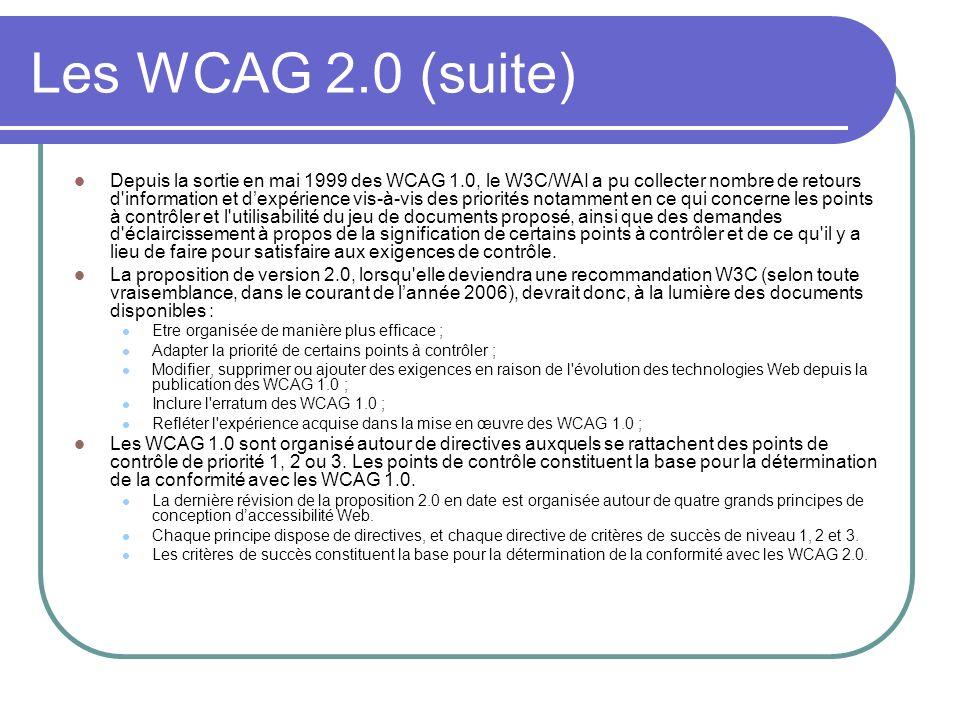 Les WCAG 2.0 (suite) Depuis la sortie en mai 1999 des WCAG 1.0, le W3C/WAI a pu collecter nombre de retours d'information et dexpérience vis-à-vis des