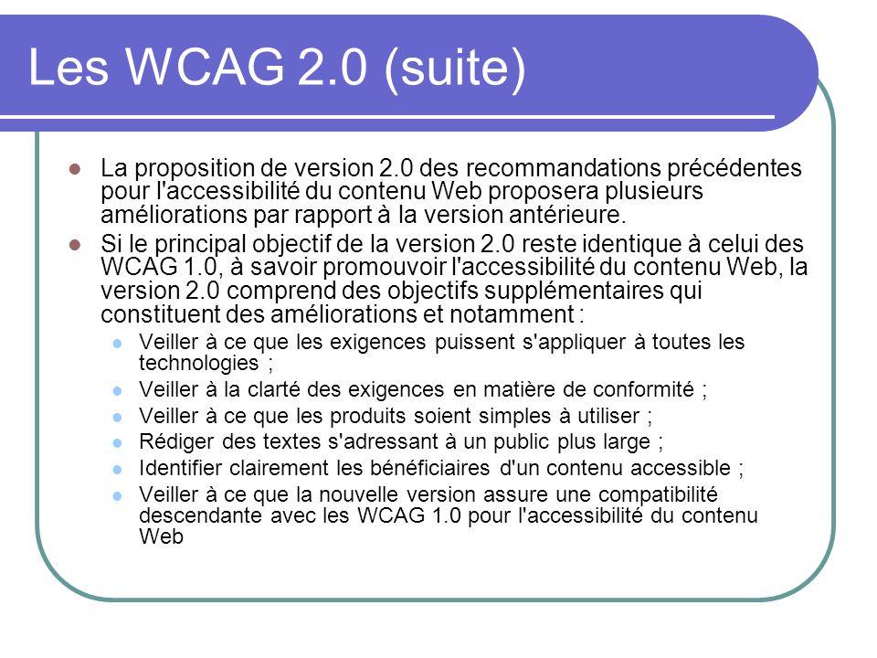 Les WCAG 2.0 (suite) La proposition de version 2.0 des recommandations précédentes pour l'accessibilité du contenu Web proposera plusieurs amélioratio