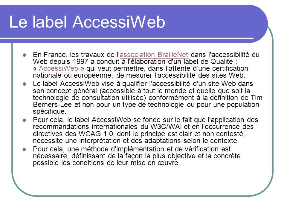 Le label AccessiWeb En France, les travaux de lassociation BrailleNet dans l'accessibilité du Web depuis 1997 a conduit à l'élaboration d'un label de
