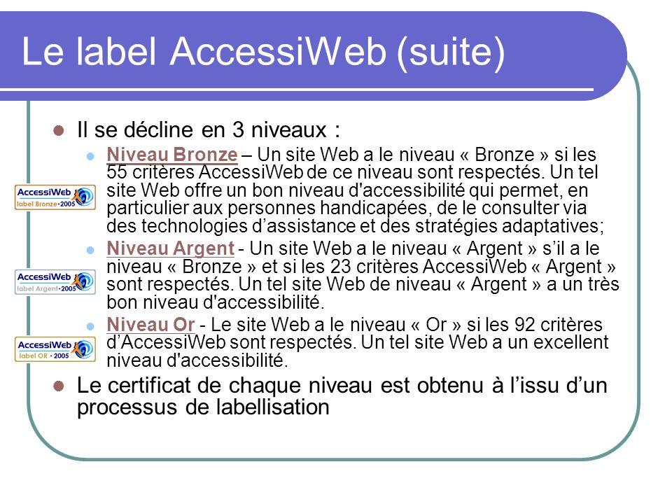 Le label AccessiWeb (suite) Il se décline en 3 niveaux : Niveau Bronze – Un site Web a le niveau « Bronze » si les 55 critères AccessiWeb de ce niveau