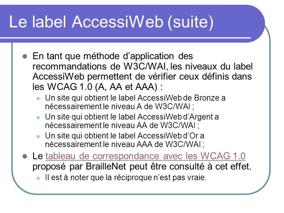 Le label AccessiWeb (suite) En tant que méthode dapplication des recommandations de W3C/WAI, les niveaux du label AccessiWeb permettent de vérifier ce