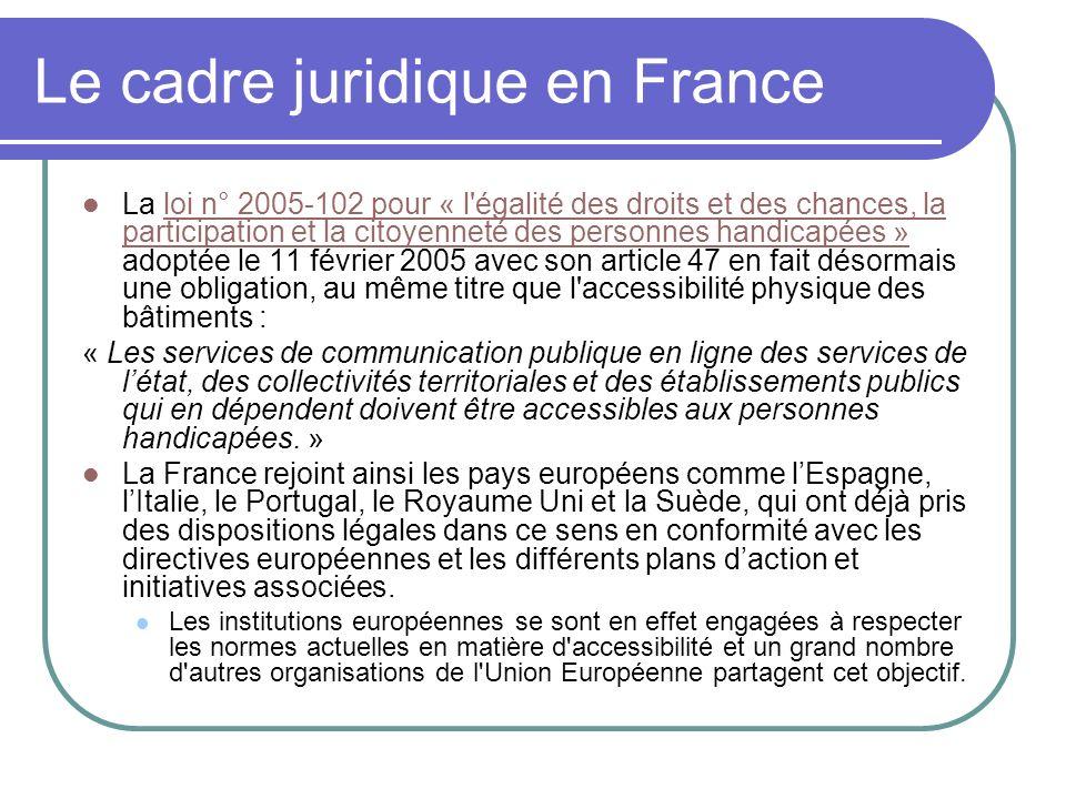 Le cadre juridique en France La loi n° 2005-102 pour « l'égalité des droits et des chances, la participation et la citoyenneté des personnes handicapé