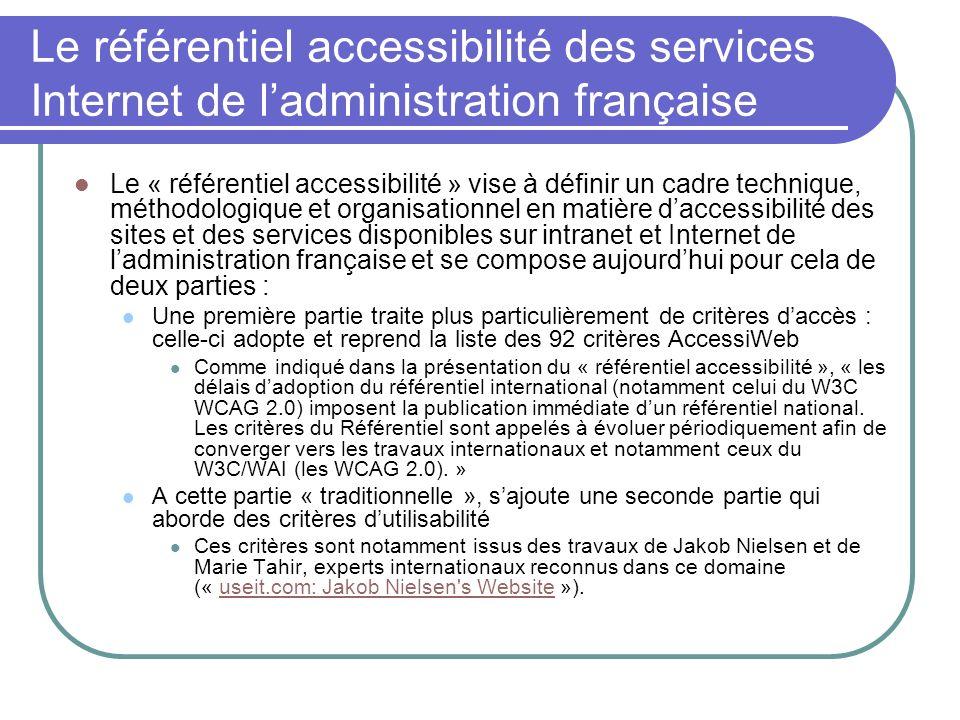 Le référentiel accessibilité des services Internet de ladministration française Le « référentiel accessibilité » vise à définir un cadre technique, mé