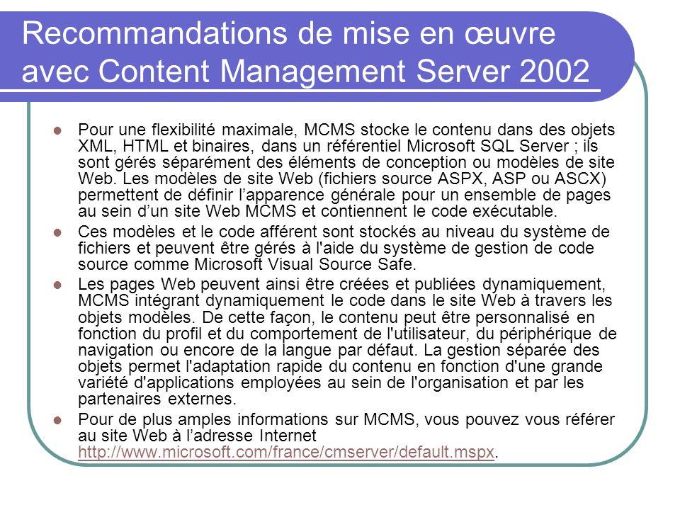 Recommandations de mise en œuvre avec Content Management Server 2002 Pour une flexibilité maximale, MCMS stocke le contenu dans des objets XML, HTML e