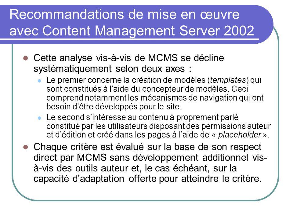 Recommandations de mise en œuvre avec Content Management Server 2002 Cette analyse vis-à-vis de MCMS se décline systématiquement selon deux axes : Le