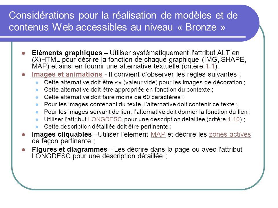 Considérations pour la réalisation de modèles et de contenus Web accessibles au niveau « Bronze » Eléments graphiques – Utiliser systématiquement l'at