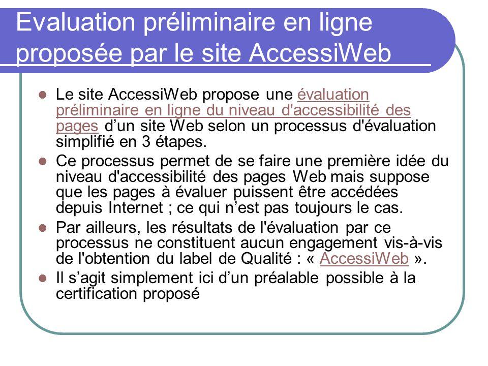 Evaluation préliminaire en ligne proposée par le site AccessiWeb Le site AccessiWeb propose une évaluation préliminaire en ligne du niveau d'accessibi