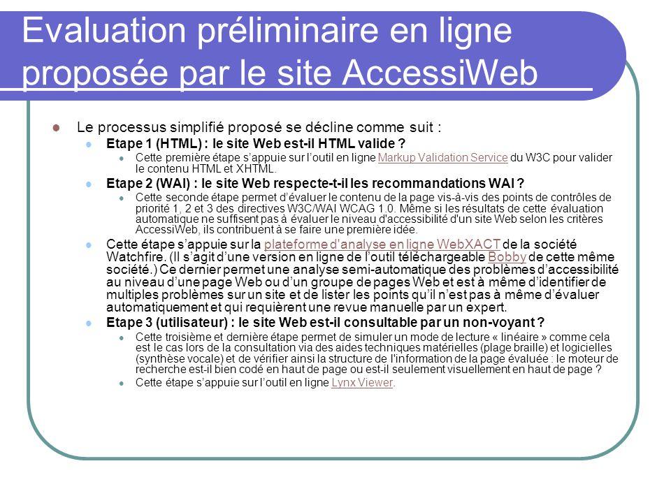 Evaluation préliminaire en ligne proposée par le site AccessiWeb Le processus simplifié proposé se décline comme suit : Etape 1 (HTML) : le site Web e