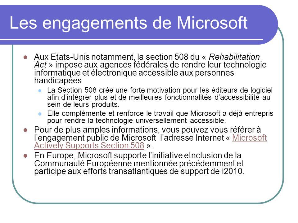 Les engagements de Microsoft Aux Etats-Unis notamment, la section 508 du « Rehabilitation Act » impose aux agences fédérales de rendre leur technologi