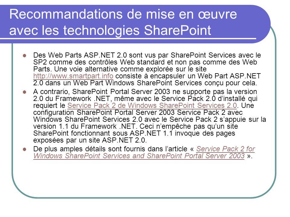 Recommandations de mise en œuvre avec les technologies SharePoint Des Web Parts ASP.NET 2.0 sont vus par SharePoint Services avec le SP2 comme des con
