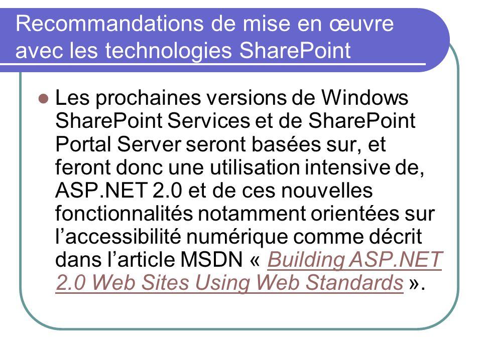 Recommandations de mise en œuvre avec les technologies SharePoint Les prochaines versions de Windows SharePoint Services et de SharePoint Portal Serve