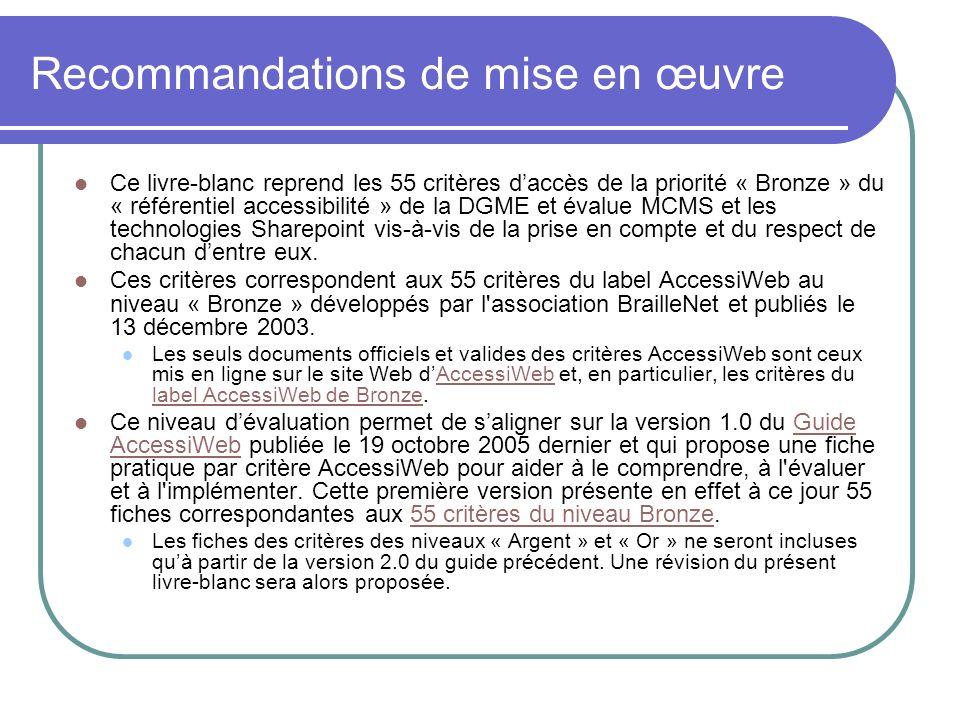 Recommandations de mise en œuvre Ce livre-blanc reprend les 55 critères daccès de la priorité « Bronze » du « référentiel accessibilité » de la DGME e