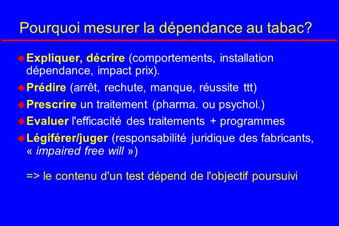 Pourquoi mesurer la dépendance au tabac? Expliquer, décrire (comportements, installation dépendance, impact prix). Prédire (arrêt, rechute, manque, ré