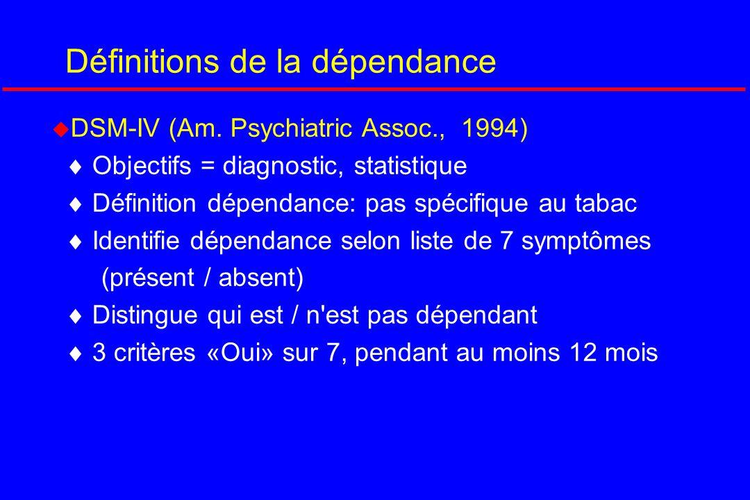 Définitions de la dépendance DSM-IV (Am. Psychiatric Assoc., 1994) Objectifs = diagnostic, statistique Définition dépendance: pas spécifique au tabac