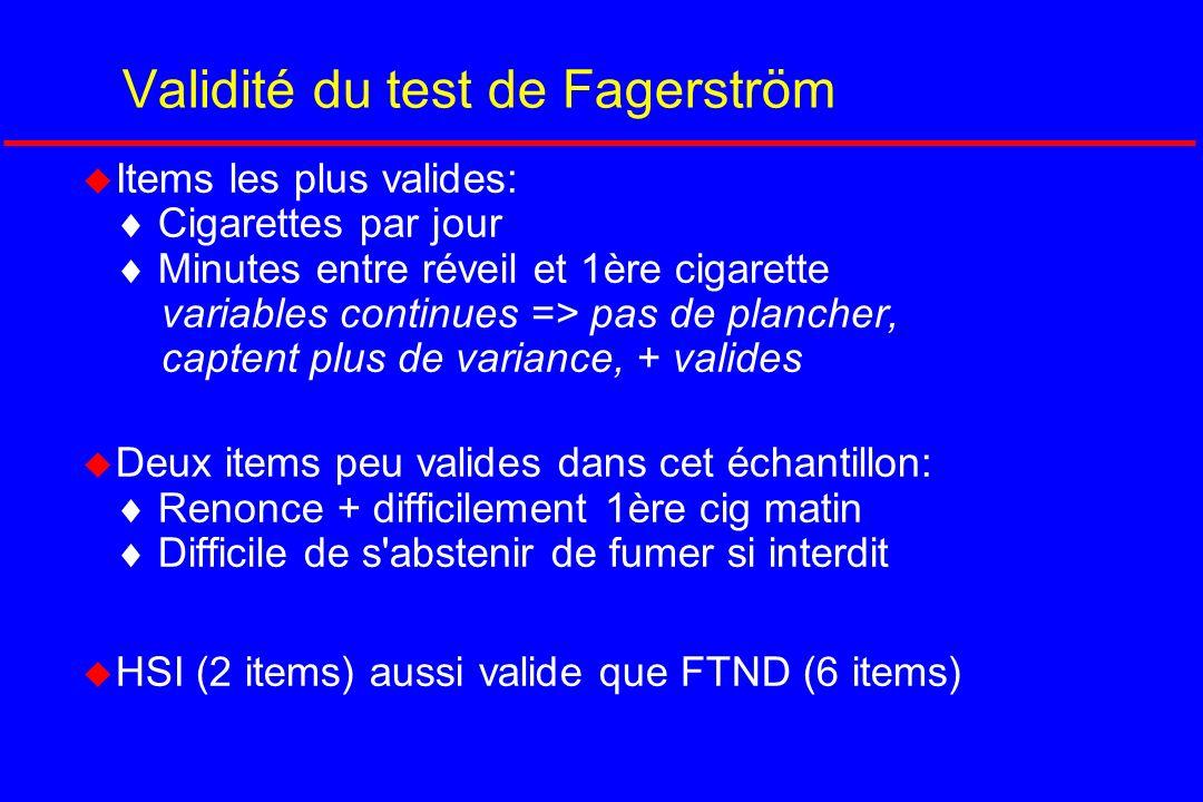 Validité du test de Fagerström Items les plus valides: Cigarettes par jour Minutes entre réveil et 1ère cigarette variables continues => pas de planch