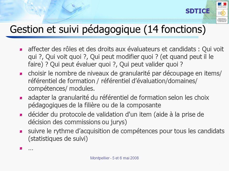 11 SDTICE Montpellier - 5 et 6 mai 2008 Gestion et suivi pédagogique (14 fonctions) affecter des rôles et des droits aux évaluateurs et candidats : Qui voit qui , Qui voit quoi , Qui peut modifier quoi .
