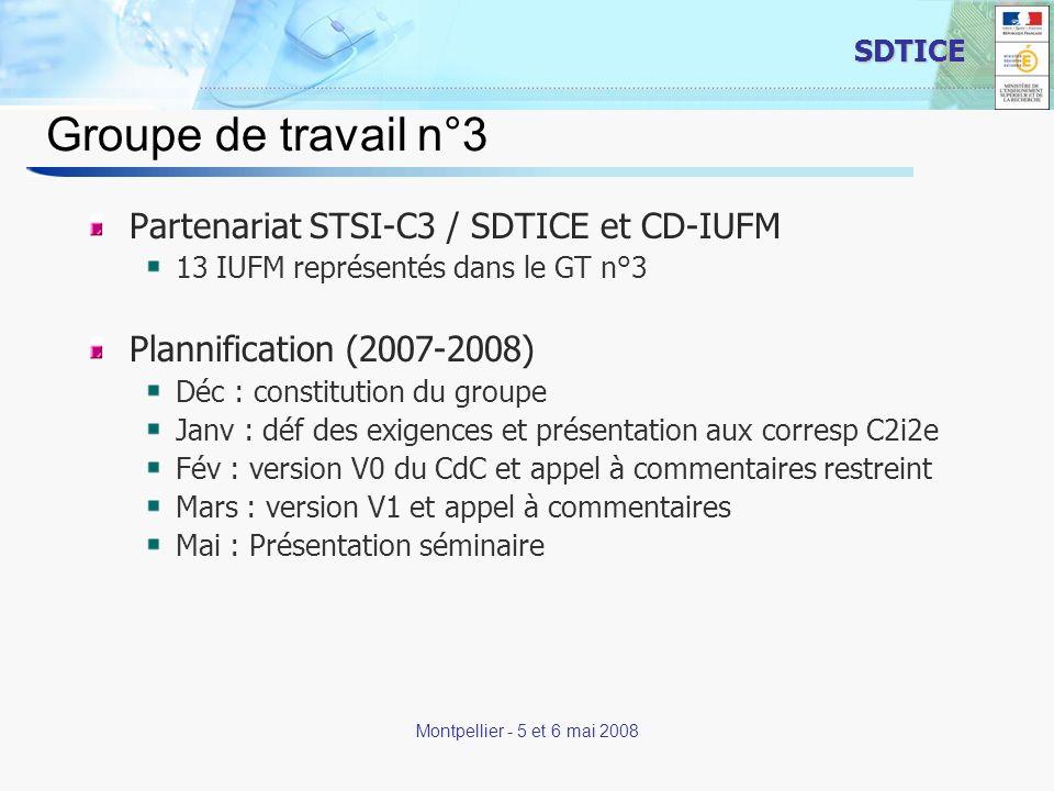 2 SDTICE Montpellier - 5 et 6 mai 2008 Groupe de travail n°3 Partenariat STSI-C3 / SDTICE et CD-IUFM 13 IUFM représentés dans le GT n°3 Plannification (2007-2008) Déc : constitution du groupe Janv : déf des exigences et présentation aux corresp C2i2e Fév : version V0 du CdC et appel à commentaires restreint Mars : version V1 et appel à commentaires Mai : Présentation séminaire