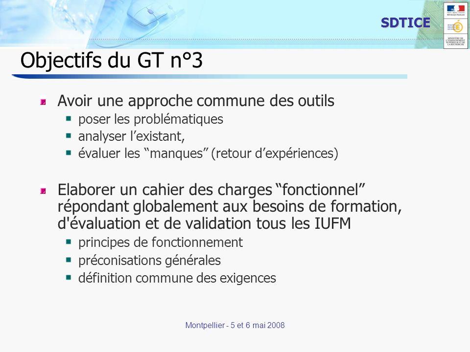4 SDTICE Montpellier - 5 et 6 mai 2008 Définition de loutil Environnement numérique de formation (ENF) destiné à faciliter lévaluation et la validation des compétences repérées dans un référentiel brique de lENT de lappareil de formation ENF et non pas e-portfolio, pour éviter de devoir répondre aux questions (qui nétaient pas lobjet de la réflexion du GTn°3) suivantes : statut des différents documents .