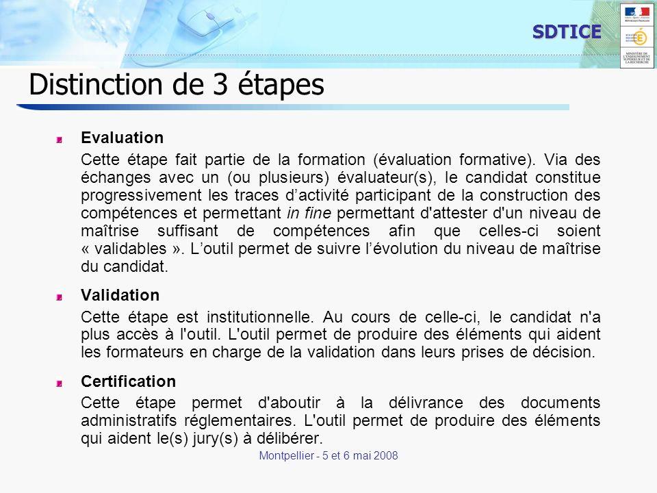 5 SDTICE Montpellier - 5 et 6 mai 2008 Distinction de 3 étapes Evaluation Cette étape fait partie de la formation (évaluation formative).