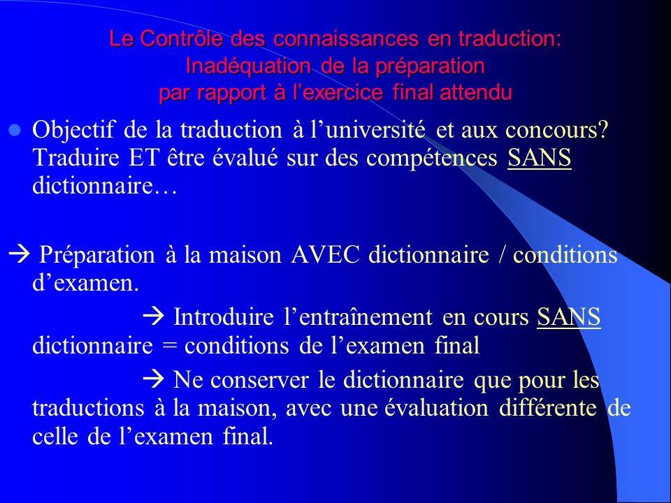 Le Contrôle des connaissances en traduction: Inadéquation de la préparation par rapport à lexercice final attendu Objectif de la traduction à luniversité et aux concours.