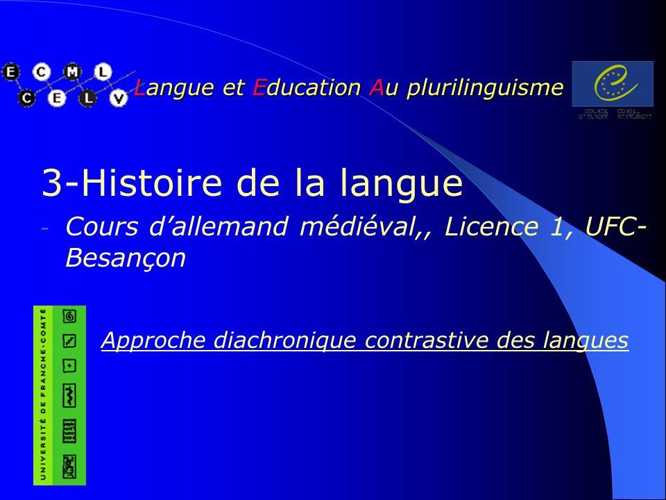 Langue et Education Au plurilinguisme Langue et Education Au plurilinguisme 3-Histoire de la langue - Cours dallemand médiéval,, Licence 1, UFC- Besançon Approche diachronique contrastive des langues