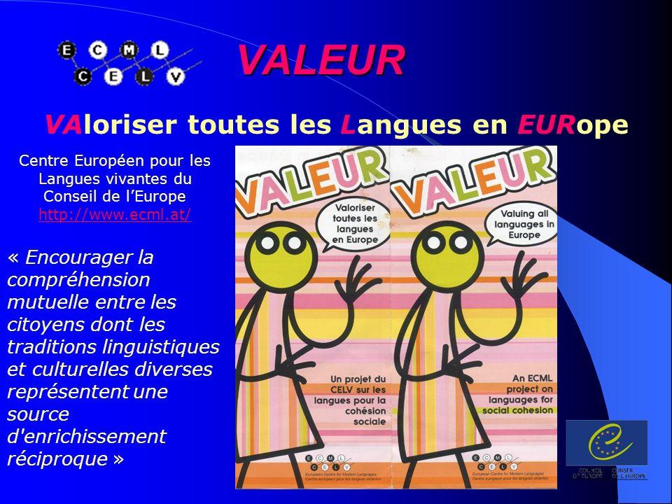 VALEUR Centre Européen pour les Langues vivantes du Conseil de lEurope - http://www.ecml.at/mtp2/VALEUR/html/Valeur_F_news.htm http://www.ecml.at/mtp2/VALEUR/html/Valeur_F_news.htm Gérer le plurilinguisme 438 langues ont déjà été identifiées et ce chiffre est en constante augmentation ( concerne seulement les 15 pays dont l équipe du CELV du Conseil de lEurope de Graz a pu analyser les informations à ce jour ).