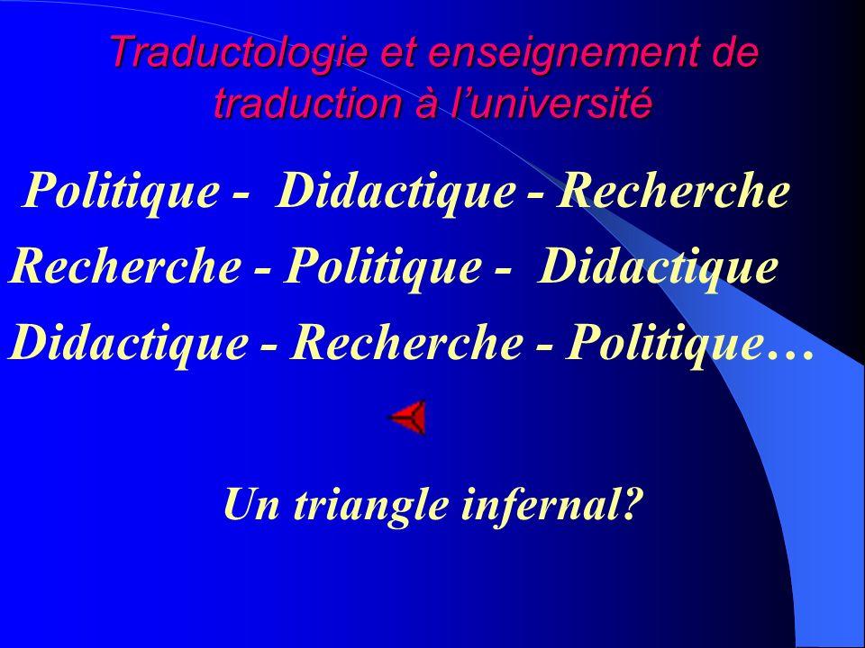 Traductologie et enseignement de traduction à luniversité Politique - Didactique - Recherche Recherche - Politique - Didactique Didactique - Recherche - Politique… Un triangle infernal
