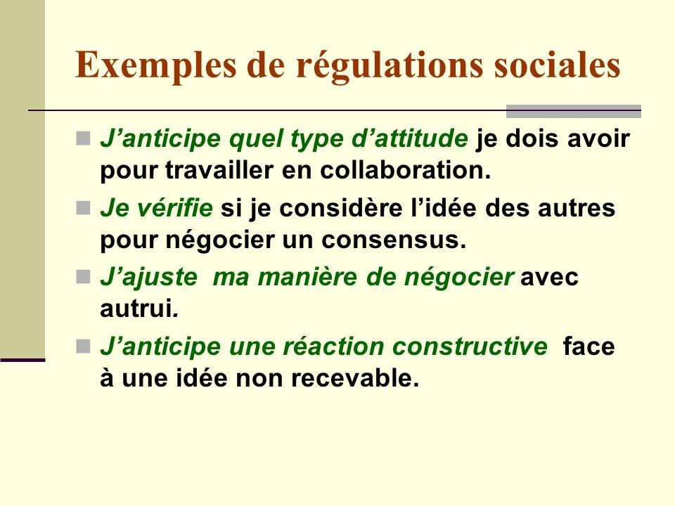 Exemples de régulations sociales Janticipe quel type dattitude je dois avoir pour travailler en collaboration.