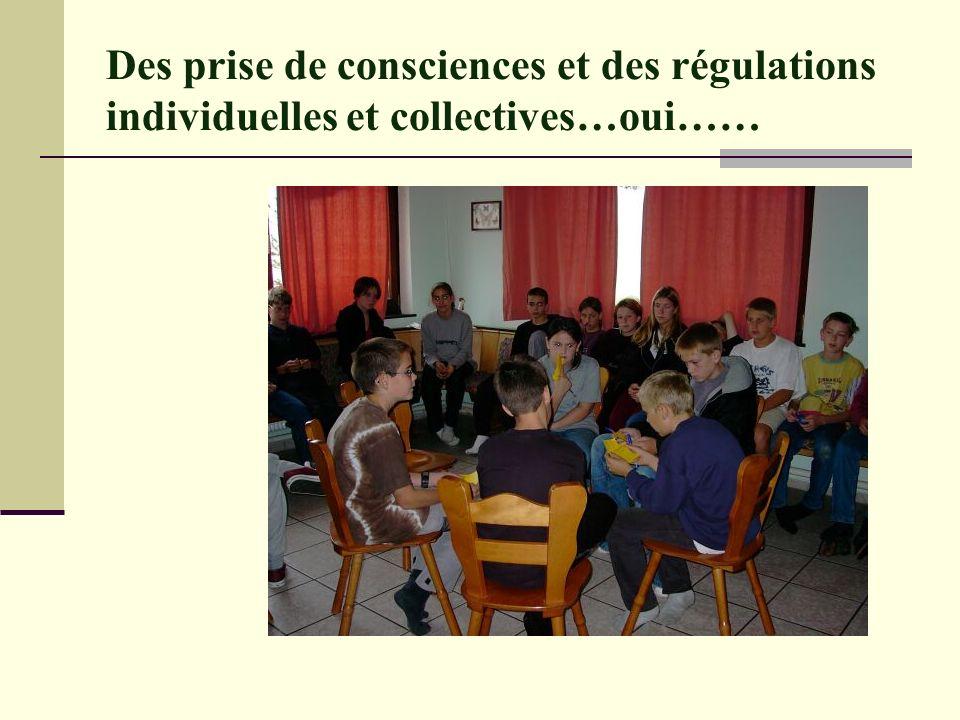 Des prise de consciences et des régulations individuelles et collectives…oui……
