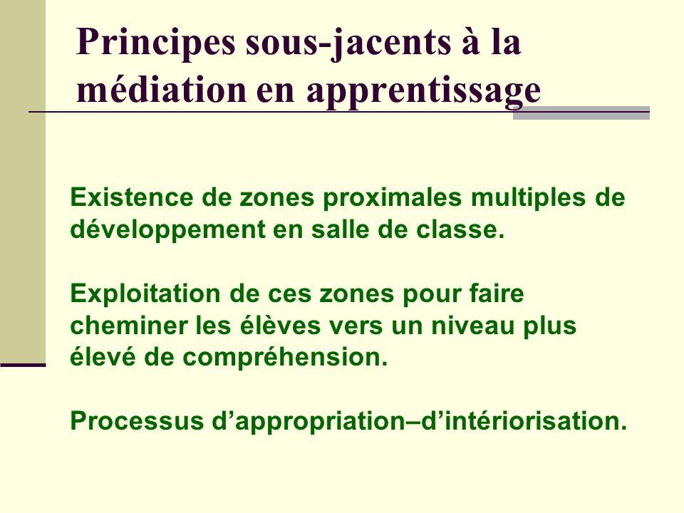 Principes sous-jacents à la médiation en apprentissage Existence de zones proximales multiples de développement en salle de classe.