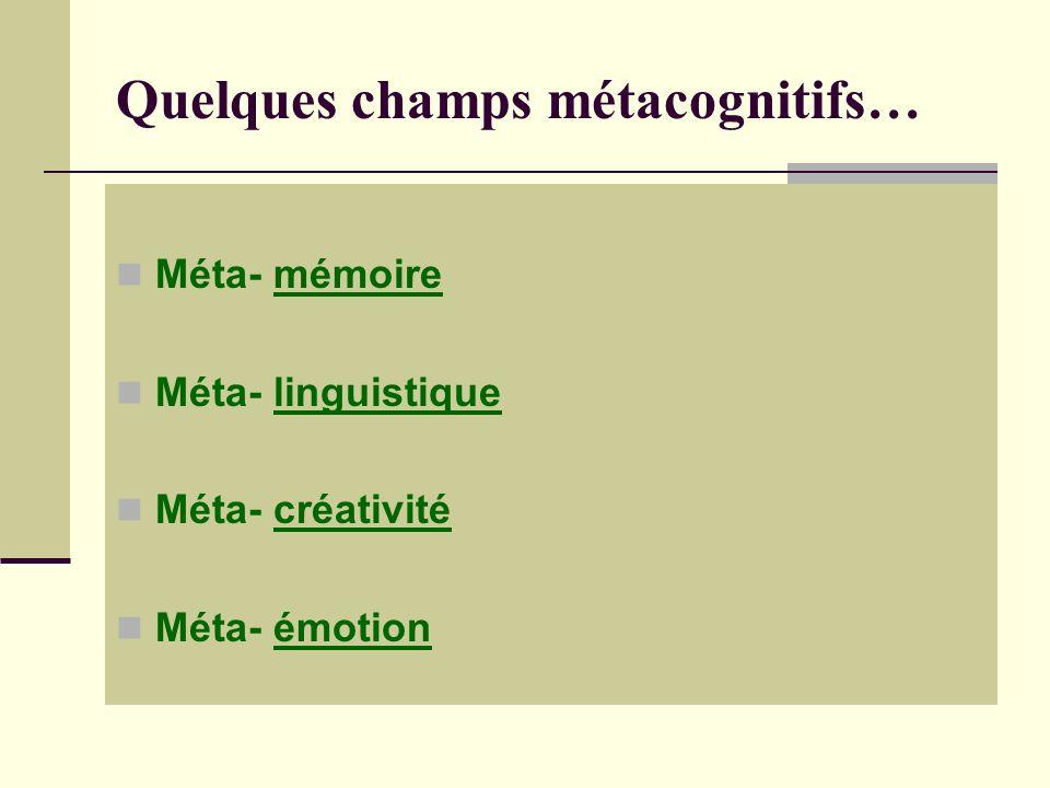 Quelques champs métacognitifs… Méta- mémoire Méta- linguistique Méta- créativité Méta- émotion
