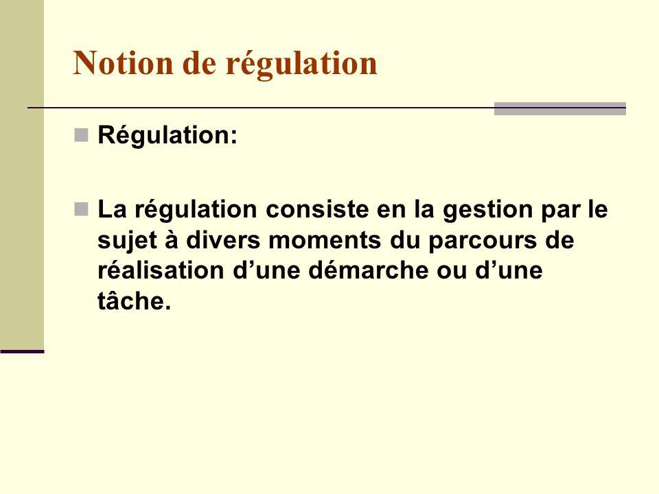 Notion de régulation Régulation: La régulation consiste en la gestion par le sujet à divers moments du parcours de réalisation dune démarche ou dune tâche.