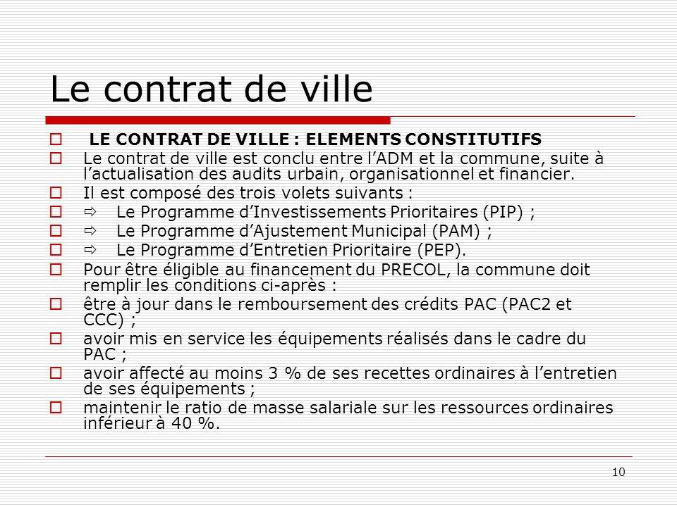 10 Le contrat de ville LE CONTRAT DE VILLE : ELEMENTS CONSTITUTIFS Le contrat de ville est conclu entre lADM et la commune, suite à lactualisation des