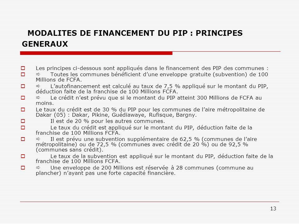 13 MODALITES DE FINANCEMENT DU PIP : PRINCIPES GENERAUX Les principes ci-dessous sont appliqués dans le financement des PIP des communes : Toutes les