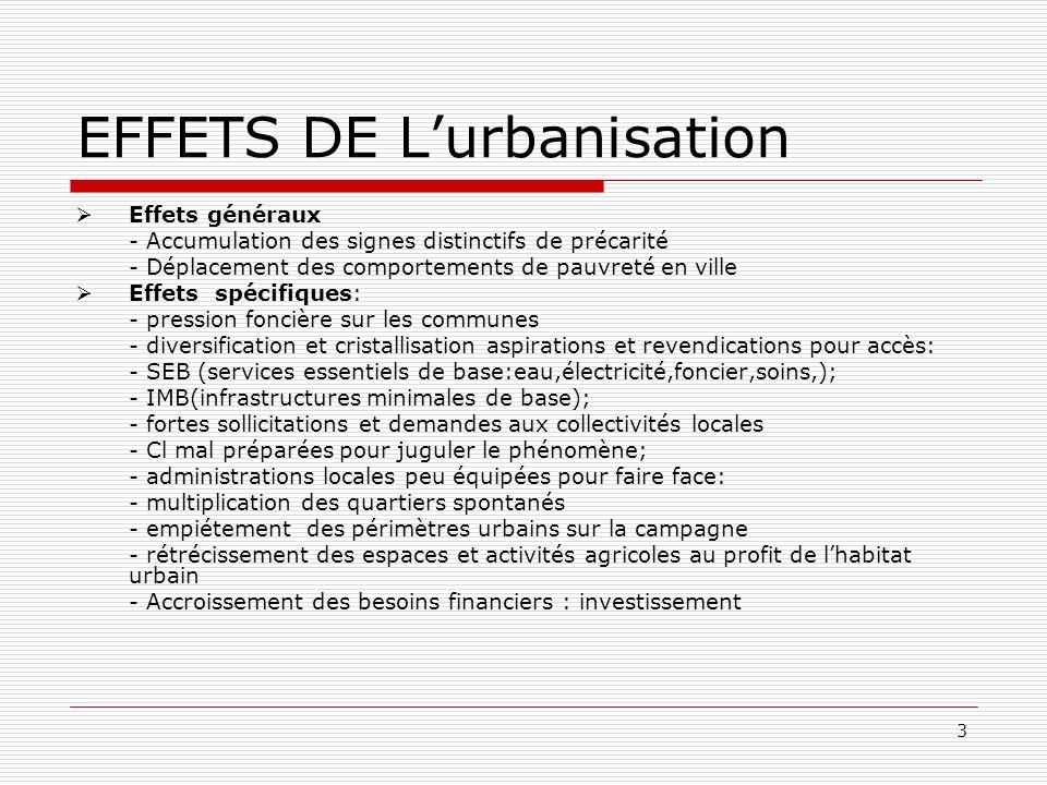 3 EFFETS DE Lurbanisation Effets généraux - Accumulation des signes distinctifs de précarité - Déplacement des comportements de pauvreté en ville Effe