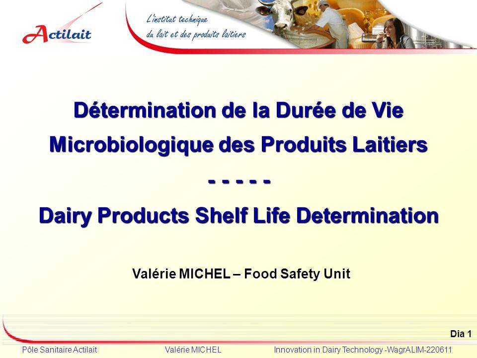 Dia 1 Pôle Sanitaire Actilait Valérie MICHEL Innovation in Dairy Technology -WagrALIM-220611 Détermination de la Durée de Vie Microbiologique des Prod