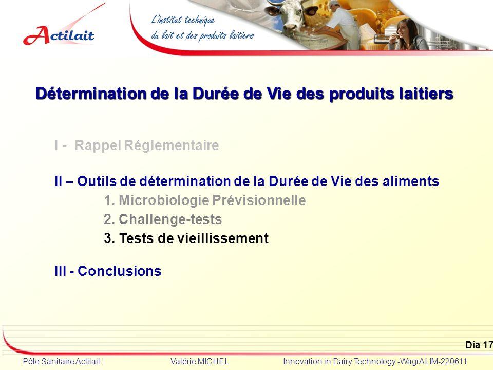 Dia 17 Pôle Sanitaire Actilait Valérie MICHEL Innovation in Dairy Technology -WagrALIM-220611 Détermination de la Durée de Vie des produits laitiers I