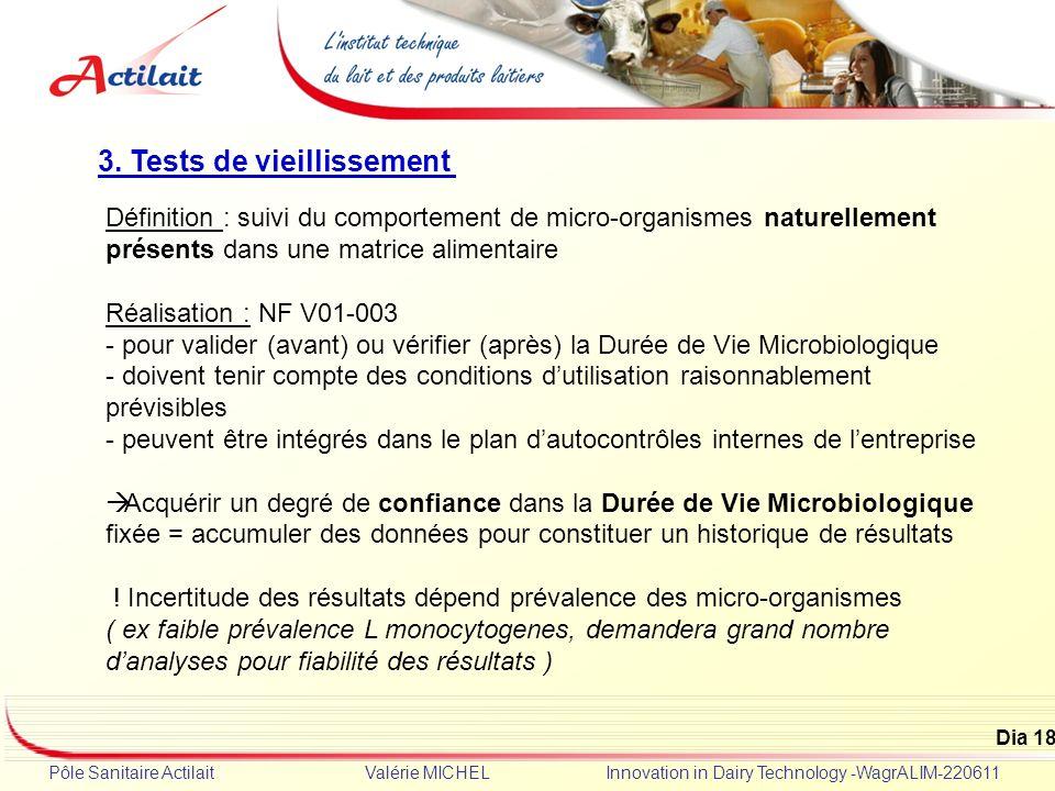 Dia 18 Pôle Sanitaire Actilait Valérie MICHEL Innovation in Dairy Technology -WagrALIM-220611 3. Tests de vieillissement Définition : suivi du comport