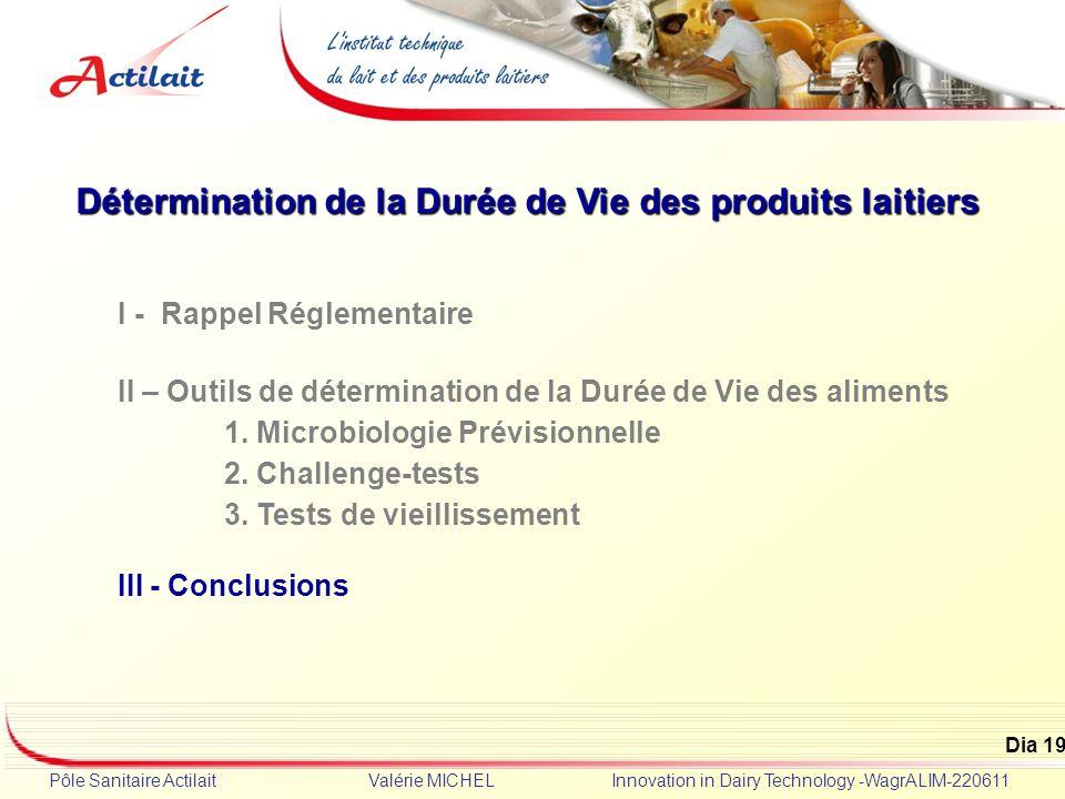 Dia 19 Pôle Sanitaire Actilait Valérie MICHEL Innovation in Dairy Technology -WagrALIM-220611 Détermination de la Durée de Vie des produits laitiers I