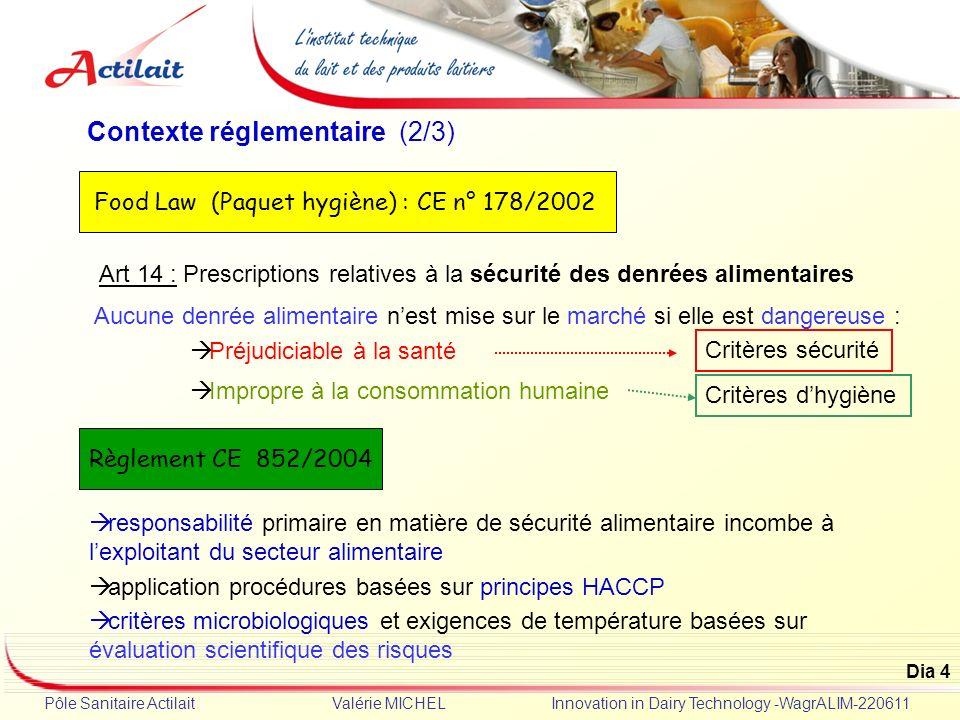 Dia 4 Pôle Sanitaire Actilait Valérie MICHEL Innovation in Dairy Technology -WagrALIM-220611 Contexte réglementaire (2/3) Art 14 : Prescriptions relat