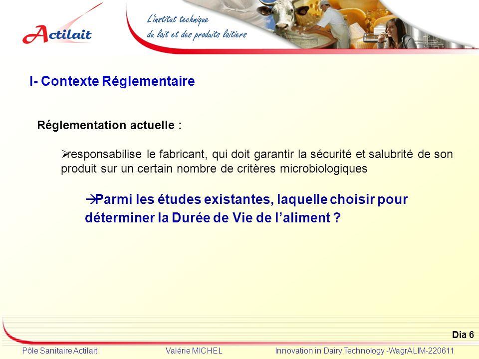 Dia 6 Pôle Sanitaire Actilait Valérie MICHEL Innovation in Dairy Technology -WagrALIM-220611 Réglementation actuelle : responsabilise le fabricant, qu