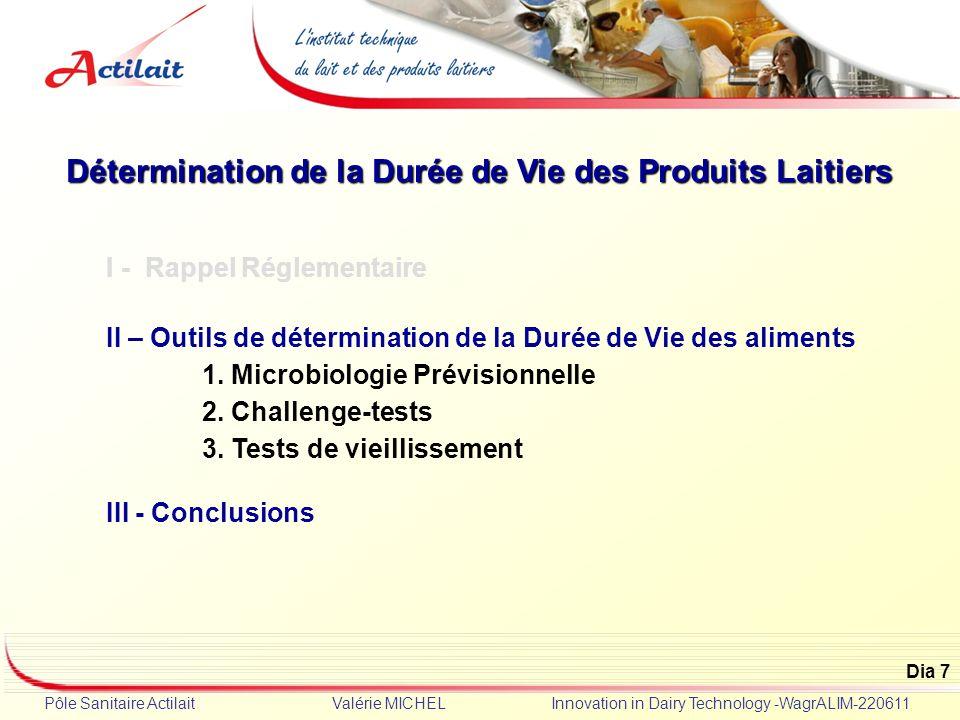 Dia 7 Pôle Sanitaire Actilait Valérie MICHEL Innovation in Dairy Technology -WagrALIM-220611 Détermination de la Durée de Vie des Produits Laitiers I