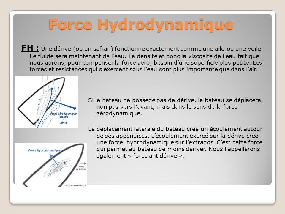 Force Hydrodynamique FH : Une dérive (ou un safran) fonctionne exactement comme une aile ou une voile. Le fluide sera maintenant de leau. La densité e