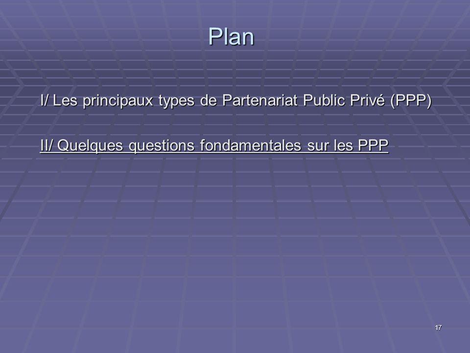 17 Plan I/ Les principaux types de Partenariat Public Privé (PPP) II/ Quelques questions fondamentales sur les PPP
