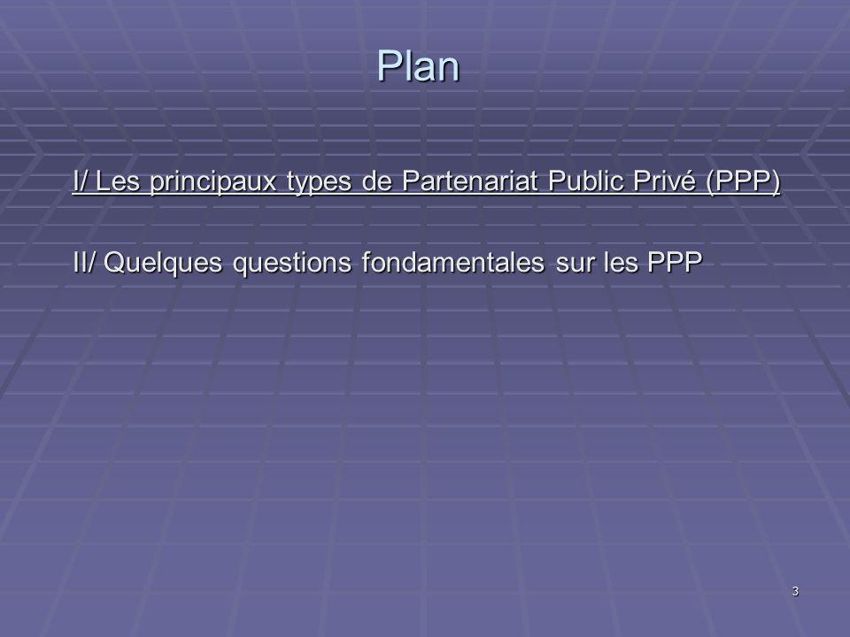 3 Plan I/ Les principaux types de Partenariat Public Privé (PPP) II/ Quelques questions fondamentales sur les PPP